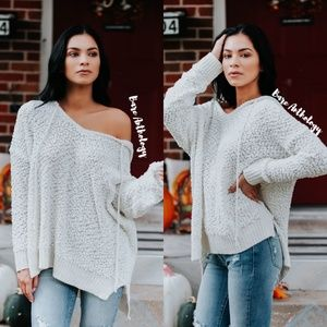Sweaters - Popcorn Hoodie Sweater Beige